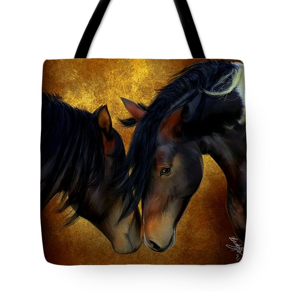 Tote Bag featuring the painting Best Friends by Becky Herrera