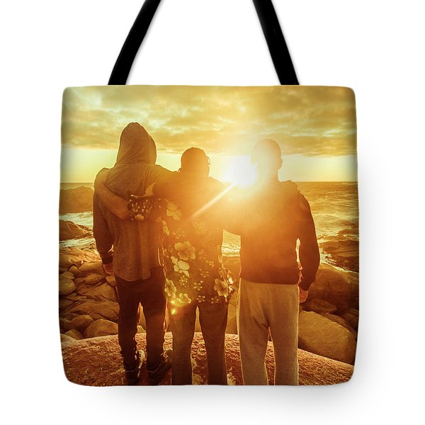 Best Friends Greeting The Sun Tote Bag