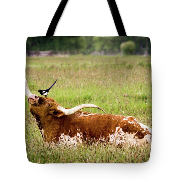 Best Friends - Texas Longhorn Magpie Tote Bag by TL Mair