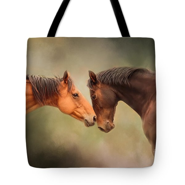 Best Friends - Two Horses Tote Bag