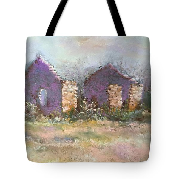 Tote Bag featuring the pastel Bethel School At Sunset by Rebecca Matthews