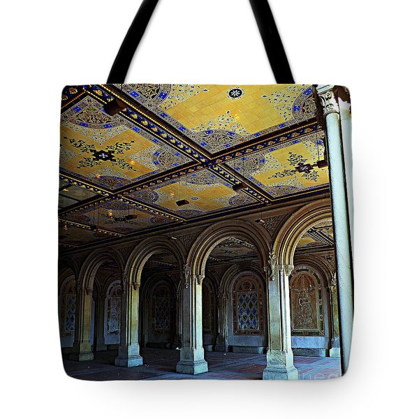 Bethesda Terrace Arcade In Central Park Tote Bag by James Aiken