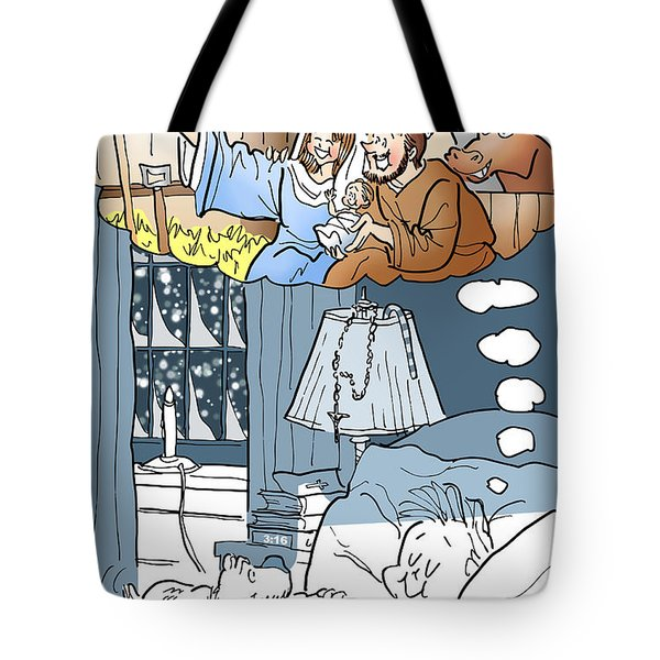 Tote Bag featuring the digital art Nativity Selfie by Mark Armstrong