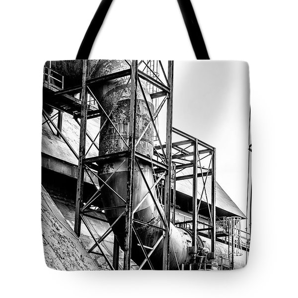 Bethlehem Steel - Black And White Industrial Tote Bag by Bill Cannon
