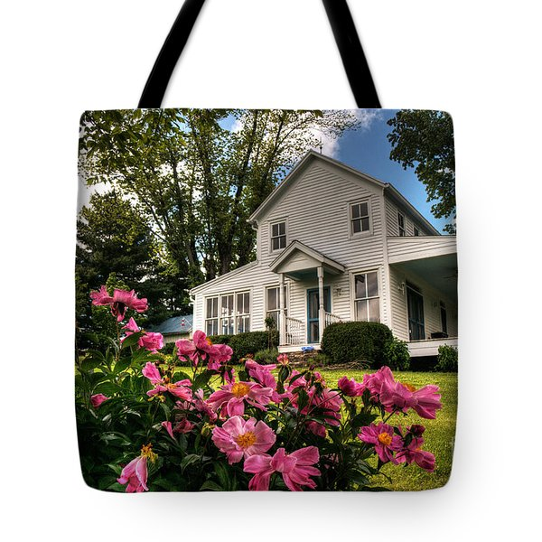 Tote Bag featuring the digital art Bethlehem Valley Peonies by William Fields