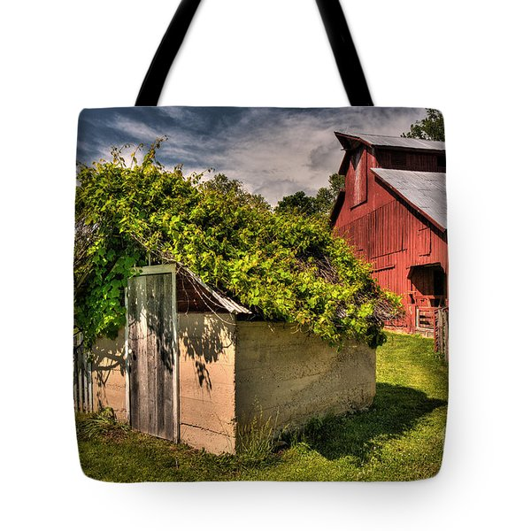 Tote Bag featuring the digital art Bethlehem Valley Spring House by William Fields