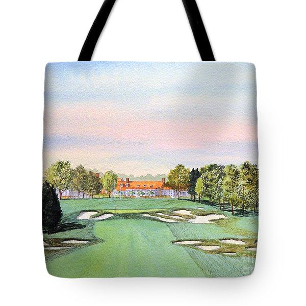 Tote Bag featuring the painting Bethpage State Park Golf Course 18th Hole by Bill Holkham