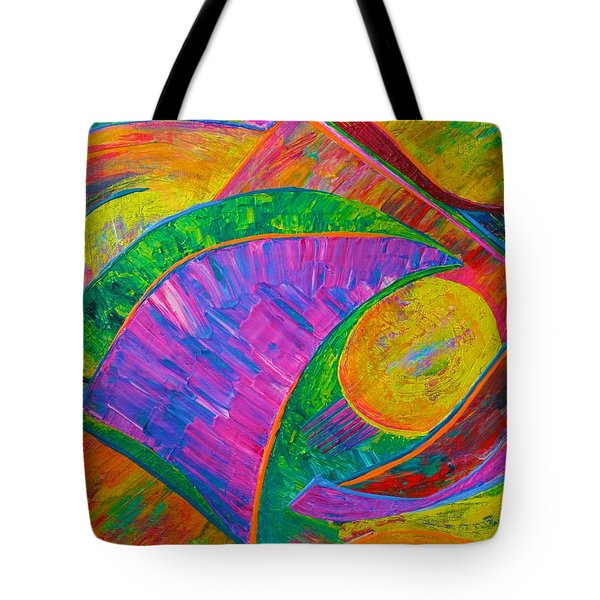 Tote Bag featuring the painting Between A Rock And A Hard Place by Polly Castor