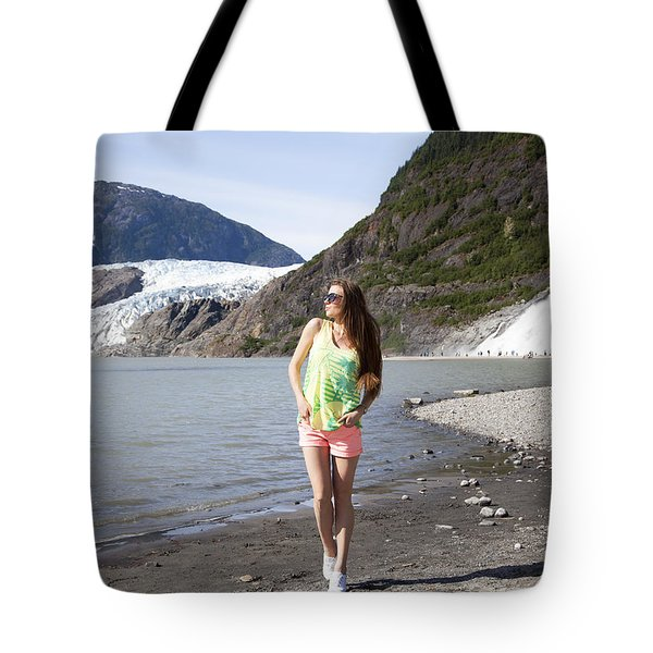 Between Glacier And Waterfall Tote Bag