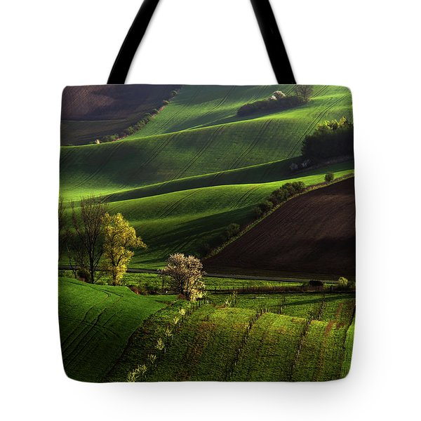 Tote Bag featuring the photograph Between Green Waves by Jenny Rainbow
