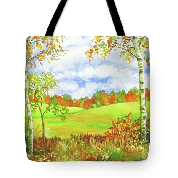 Tote Bag featuring the painting Between Rainstorms by Inese Poga