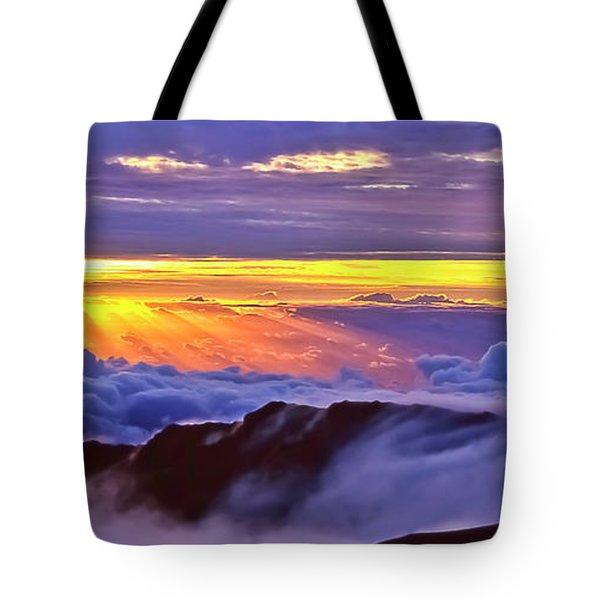 Maui Hawaii Haleakala National Park Sunrise Between The Clouds Tote Bag