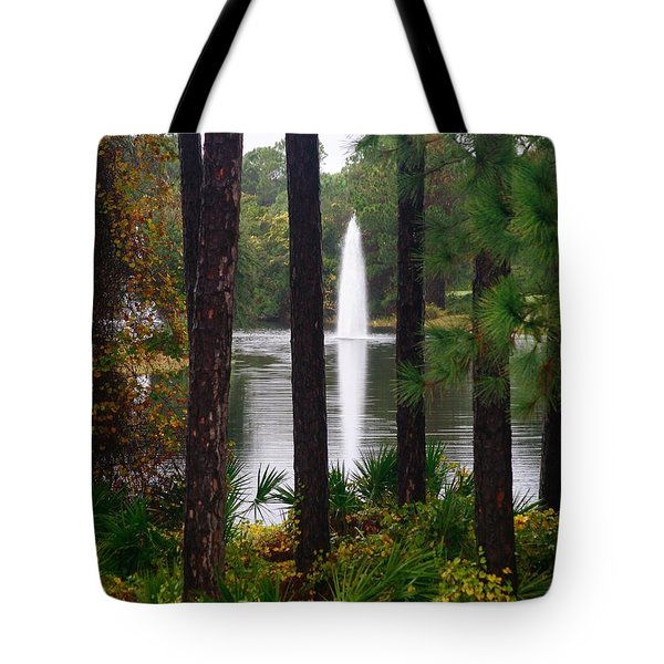 Tote Bag featuring the photograph Between The Fountain by Lori Mellen-Pagliaro