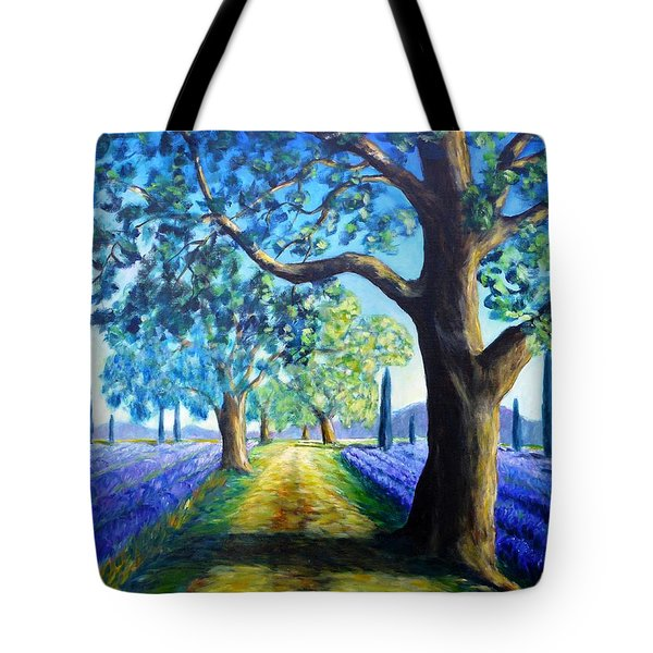 Between The Lavender Fields Tote Bag