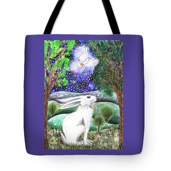 Tote Bag featuring the painting Between The Trees by Lise Winne