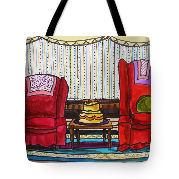 Between Two Reds Tote Bag by John Williams