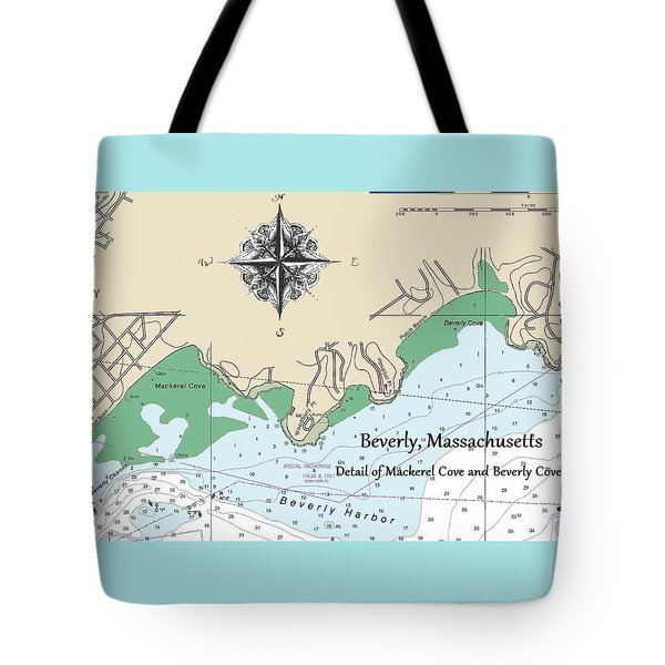 Beverly Cove Nautical Map Tote Bag