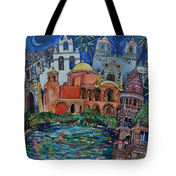 Tote Bag featuring the painting Bexar County Missions by Patti Schermerhorn