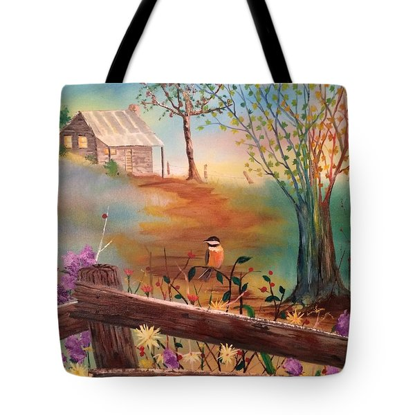 Tote Bag featuring the painting Beyond The Gate by Denise Tomasura