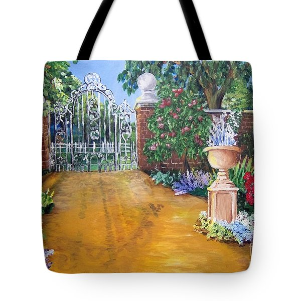 Tote Bag featuring the painting Beyond The Gate by Saundra Johnson