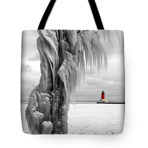 Tote Bag featuring the photograph Beyond The Ice Reaper's Grasp -  Menominee North Pier Lighthouse by Mark J Seefeldt