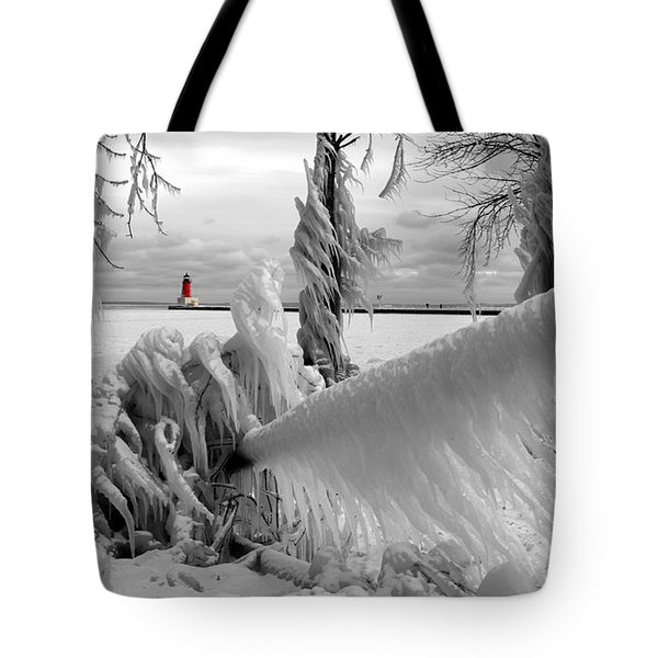 Tote Bag featuring the photograph Beyond The Icy Gate - Menominee North Pier Lighthouse by Mark J Seefeldt