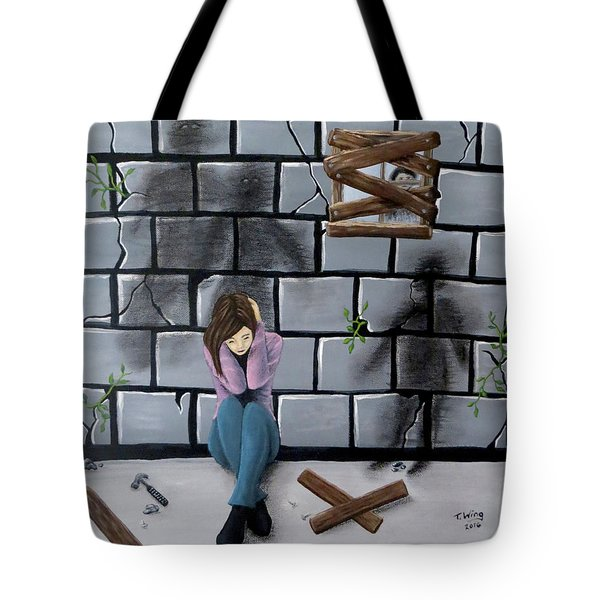 Tote Bag featuring the painting Beyond The Wall by Teresa Wing