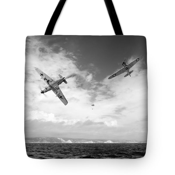 Tote Bag featuring the photograph Bf109 Down In The Channel Bw Version by Gary Eason