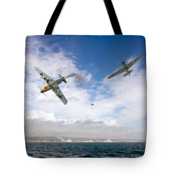 Tote Bag featuring the photograph Bf109 Down In The Channel by Gary Eason
