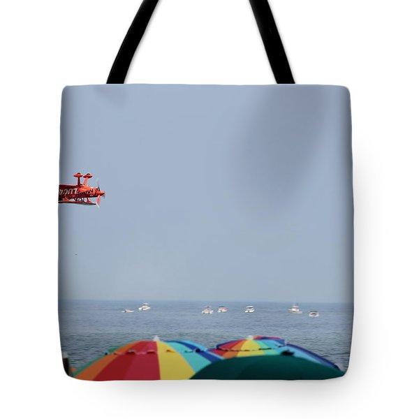 Bi-plane Buzzing The Beach Tote Bag by Robert Banach