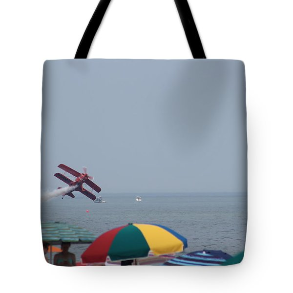 Bi-plane Fly-by Tote Bag by Robert Banach