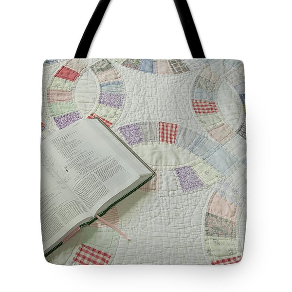 Bible On Quilt Tote Bag