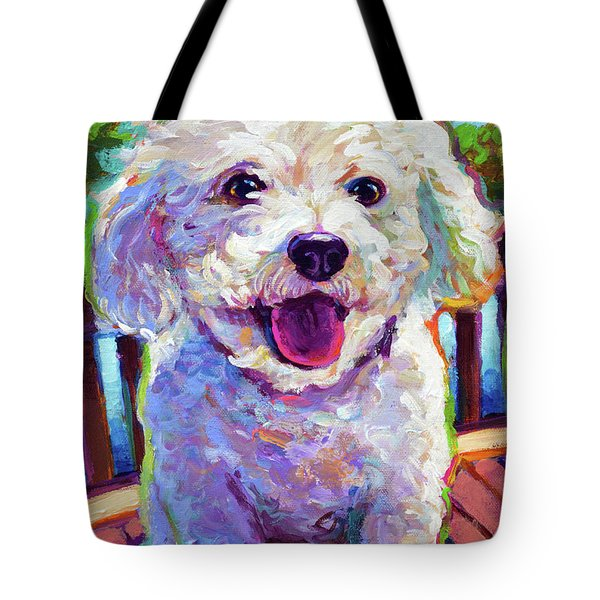 Tote Bag featuring the painting Bichon Frise by Robert Phelps