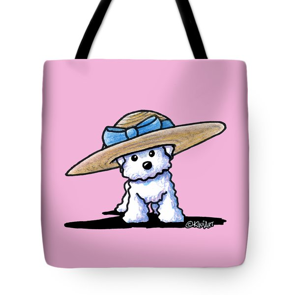 Bichon In Hat Tote Bag