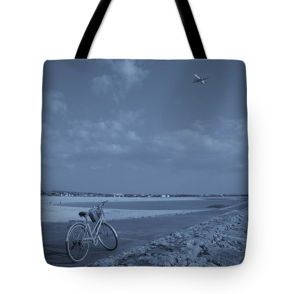 Bicycle And Airplanes And The Sky Tote Bag