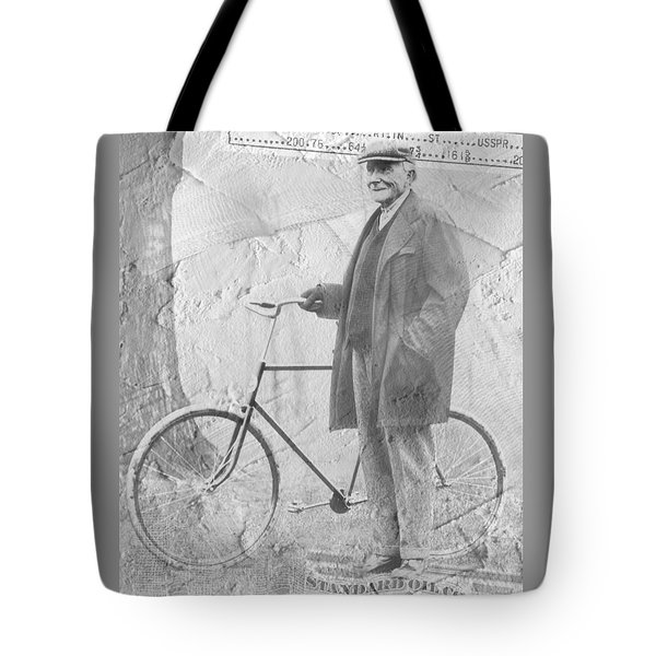 Bicycle And Jd Rockefeller Vintage Photo Art Tote Bag by Karla Beatty
