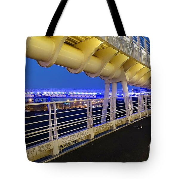 Tote Bag featuring the photograph Bicycle And Pedestrian Overpass by Yali Shi