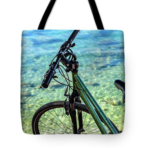 Bicycle By The Adriatic, Rovinj, Istria, Croatia Tote Bag