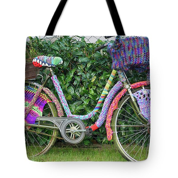 Bicycle In Knitted Sweater Tote Bag