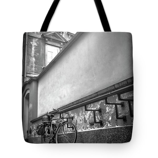 Bicycle In Warsaw Poland In Black And White  Tote Bag