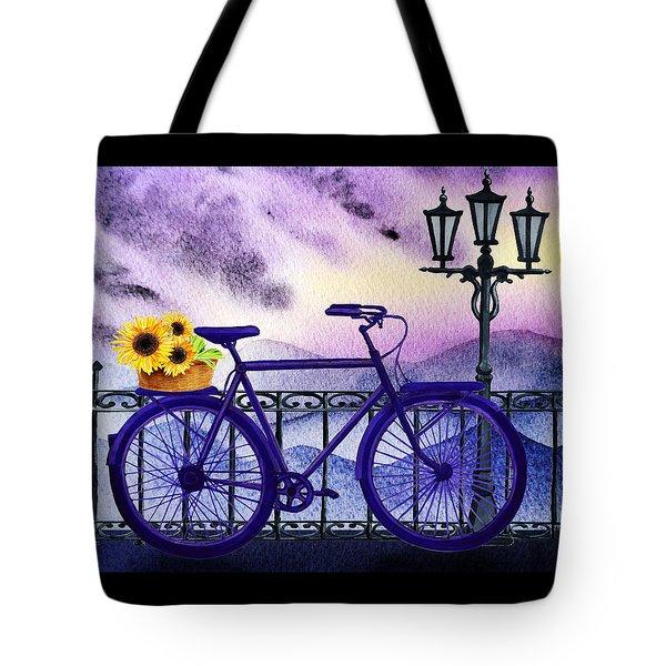 Blue Bicycle And Sunflowers By Irina Sztukowski  Tote Bag