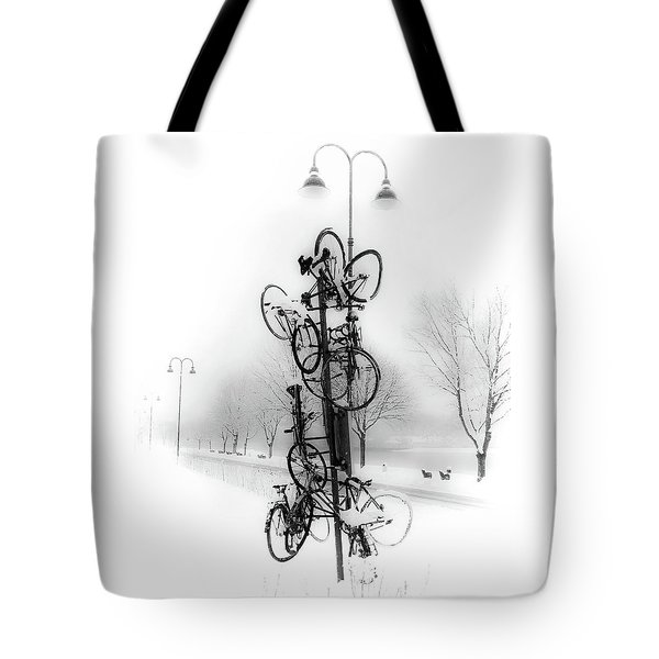 Bicycle Lamppost In Winter Tote Bag by Menega Sabidussi