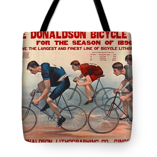 Tote Bag featuring the photograph Bicycle Lithos Ad 1896 by Padre Art