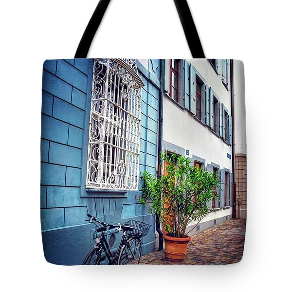 Bicycle On A Cobbled Lane In Basel Switzerland Tote Bag