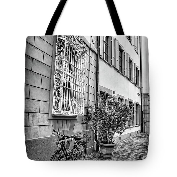 Bicycle On A Cobbled Street In Basel  Tote Bag