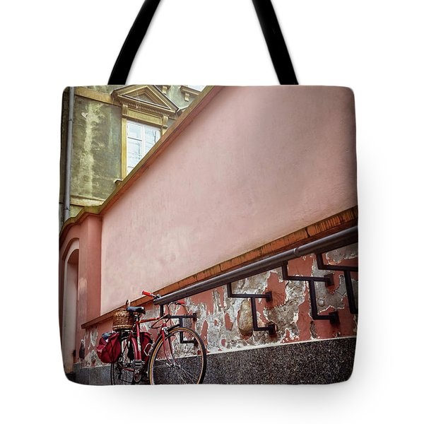 Bicycle On A Quiet Street In Warsaw Poland  Tote Bag