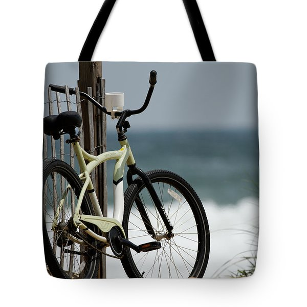 Bicycle On The Beach Tote Bag by Julie Niemela