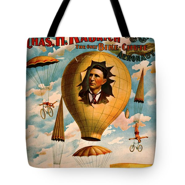 Tote Bag featuring the photograph Bicycle Parachute Act 1896 by Padre Art