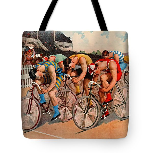 Bicycle Race 1895 Tote Bag by Padre Art