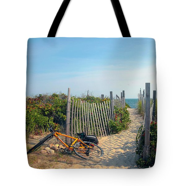Tote Bag featuring the photograph Bicycle Rest by Madeline Ellis